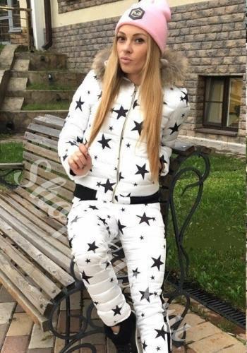 Спортивный костюм на синтепоне Звезды белый