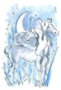 На лугу серебряные кони...